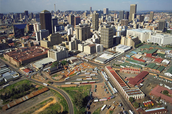 Aerial view of Johannesburg.