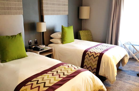 Twin bed room at Holiday Inn Johannesburg Airport.
